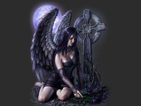 GOTHIC ANGEL - female, wings, angel, roses, fantasy, moon, purple, gothic, sad, cross, night