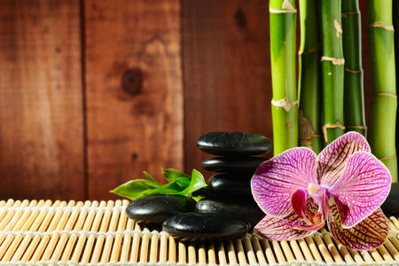 Spa - wet, beautiful, bamboo, still life, photography, nice, stone, wood, harmony, photo, exotic, relax, cool, droplets, orchid, spa, flower