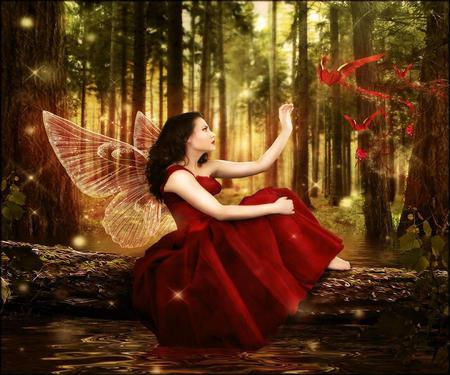 Sending my Love - wings, hearts, butterfly, red dress, magic, heart, red, woods, forest, fantasy, woman, magical, fairy, girl, love