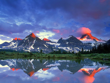 Mountain call - mountain, rugged, water, beauty, blue sky, reflections, clouds, snow peaks