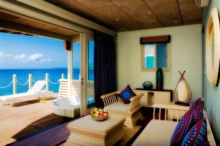 Lovely View - table, view, ocean, villa, vases, couch, chairs, jacuzzi, room, deck, pillows