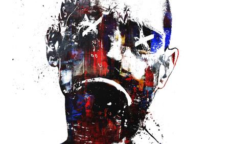 Art - white, face, graffiti, sad, art, eyes