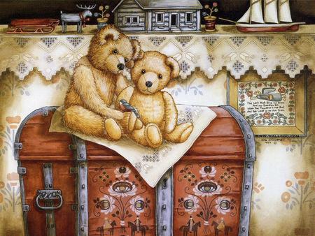 TEDDYS ON A CHEST - bears, chest, toy, teddy