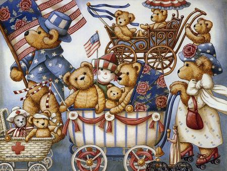 TEDDY BEAR S PARADE - july, family, teedy, bear