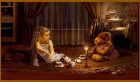 Tea - beautiful, warming, child, girl