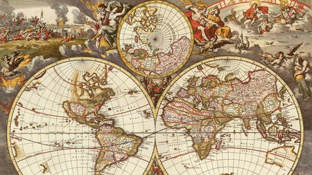 Old World Map Five - antique, vintage, world, travel, globe, map