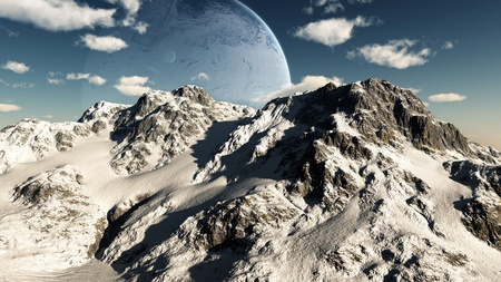 Unreal Mountain Scene - unreal, fantasy, scene, mountain