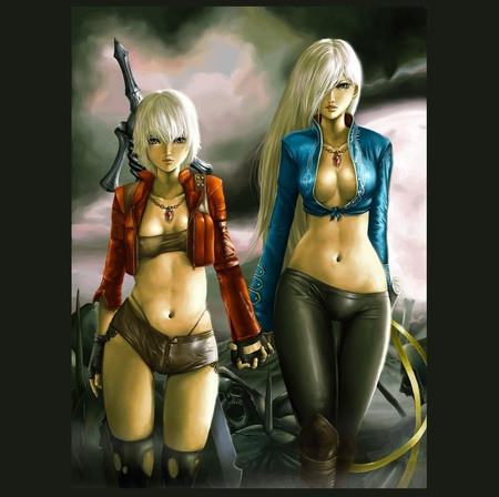 Dangerous Friends - white hair, beautiful, woman, women, fantasy, leather, shorts, face, girls, sword, dangerous, dante, legs, sexy, abstract, weapons, girl, deadly
