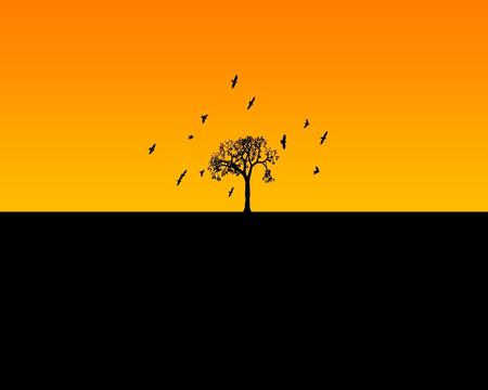 Horizon - tree, horizon, birds, black, yellow