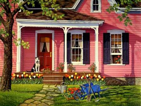 Little Pink Houses - flowers, porch, blue wheelbarrow, wheelbarrow, house, tree, cobblestone walk, dog