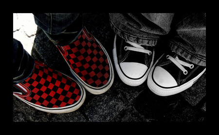 Vans And Chucks - red, photography, converse, black and white, vans, chucks, abstract, shoes
