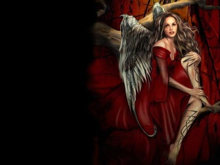 girl angel - red, tattoos, wings, dress, angel, beautiful, abstract, woman, sweet, fantasy, 3d, girl, wallpaper, beauty