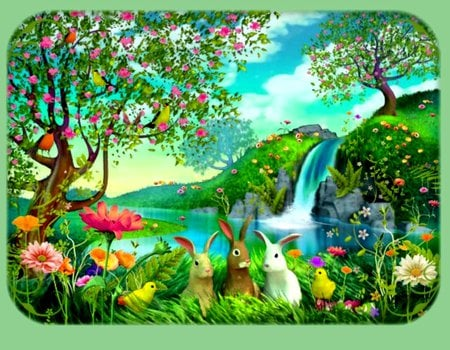 HAPPY EASTER TO ALL OF DN! - springtime, birds, flowers, waterfall, rabbits, easter, trees, chicks