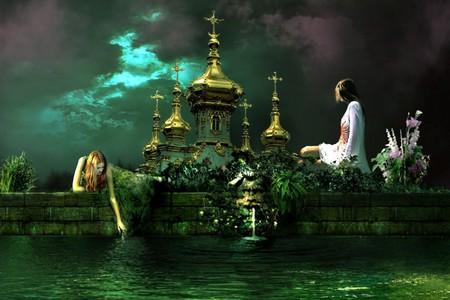 WATER GARDEN - flowers, castle, lake, females, women, water, noapte, story, castel, frumoasa, night, lac, palat, garden