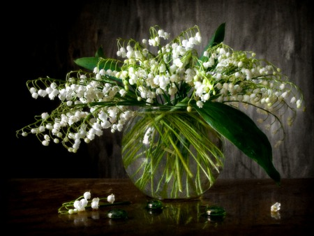 Pure Whites - still life, lilys of the valley, white flowers, flowers, green glass