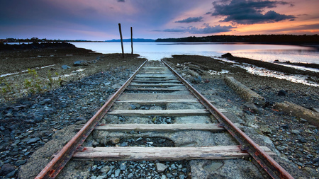Tracks to Nowhere - beautiful, desolate, end, sky, water, tracks, nature