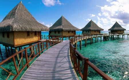 Island French Polynesia - wonderful, cottages, blue sea, over the sea, island, clouds, deck, sky