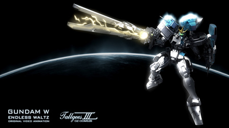 Mega Cannon !! - tallgeese, movie, charging, green eyes, cannon, gundam wing endless waltz, mecha, anime, white, zech, blue