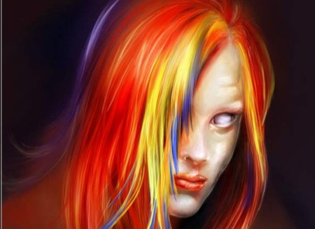 Alienated - red, fantasy, yellow, color full, beautiful, alien, lips, sexy