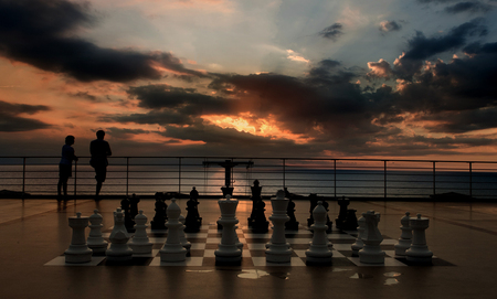 chess - game, couple, chess, sky