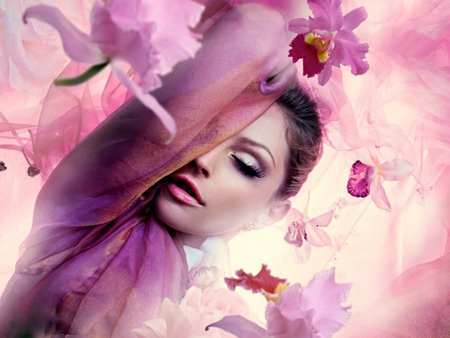 Orchid Rain - flowers, purple, woman, pink, orchids, female