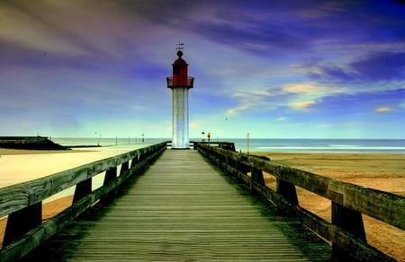 The End - clouds, boardwalk, water, sea, beach, rocks