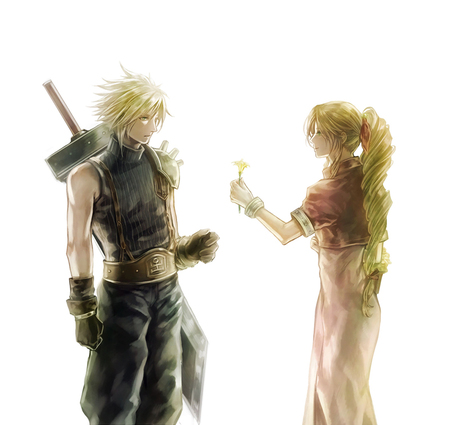 Cloud & Aerith - games, final fantasy 7, white background, final fantasy series, anime, aerith gainsborough, final fantasy, weapon, sword, cloud, aerith, advent children, final fantasy vii, cloud strife, flower, plain background, crisis core