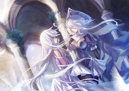 Pixiv Fantasia - dress, long, white hair, two girls, artbook, hair, duo, dutch angle, pixiv fantasia, nun outfit, girls, long hair, skade, outfit, female, nun, hat, fantasia, pixiv, white