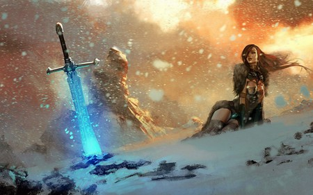magical sword - beautiful, lovely, woman, creature, pretty, swordfantasy, amazing, warrior