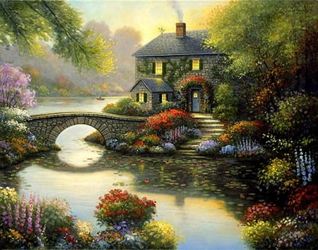 Manor Gardens - house, bridge, mountains, lily pads, flowers, gardens, trees, steps
