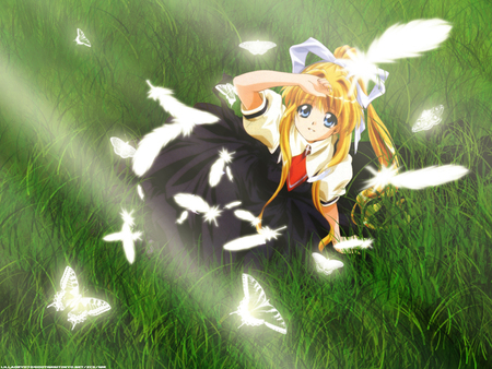 Kamio Misuzu - cute, beautifull, butterfly, girl, anime, blonde
