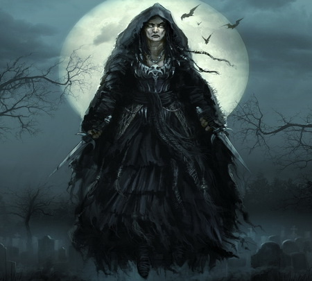 Witch - witch, fantasy, demon, cemetery, dark, wallpaper, abstract