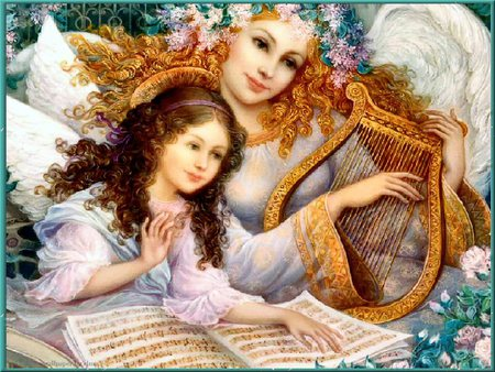 Easter Angel - lovely, harp, child, easter, music, angel