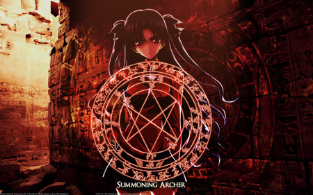Magic Circle - red, circle, game, magic, master, mini skirt, ponytail, fate stay night, summoner, girl, rin, anime, dark, black ribbon, tohsaka, mage