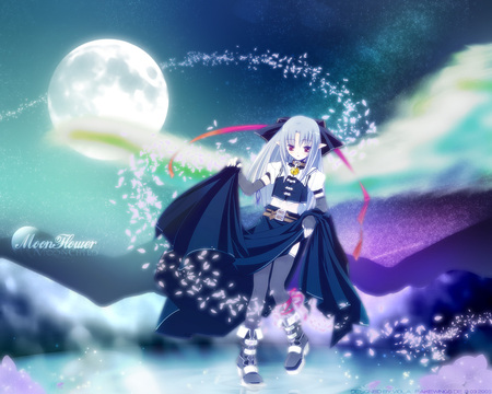 Moonflower - len, tsukihime, game, black, greetings, moon, anime, dark, night