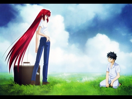 Their First Meeting - female, male, shiki, tsukihime, game, tohno, sky, woman, boy, case, aozaki, anime, scenery, aoko