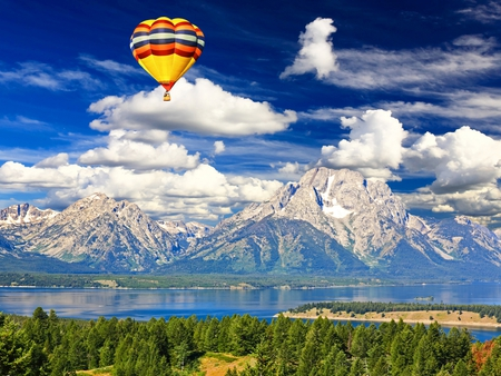 Landscape - colorful, peaceful, white, forest, sky, hot, water, hot air balloon, woods, reflection, balloons, clouds, air, grass, photography, lake, magic, landscape, hot air balloons, blue, colors, splendor, balloon, mountains, trees, nature, beauty, beautiful, lovely, snow, river, green, view