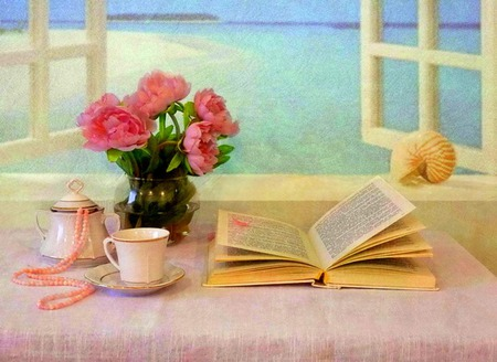Sea View - pink peonies, flowers, seashell, ocean, water, teacup, book, pearls, necklace, pink pearls, peonies, saucer, still life, window, sea, sugar bowl