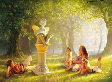 Storytime - forest, laying down, angel, book, butterflies, trees, childrengrass, pedestal, statue, painting, flowers, sitting, light, kids