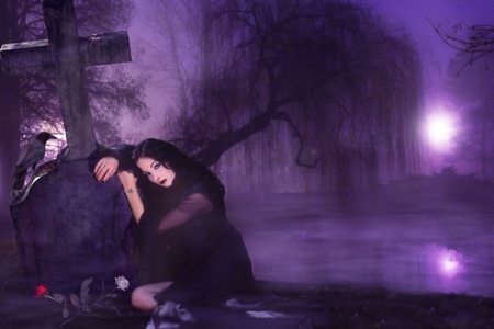 FOREVER YOURS - white, raven, roses, cross, dark, trees, gothic, red, purple, night, female