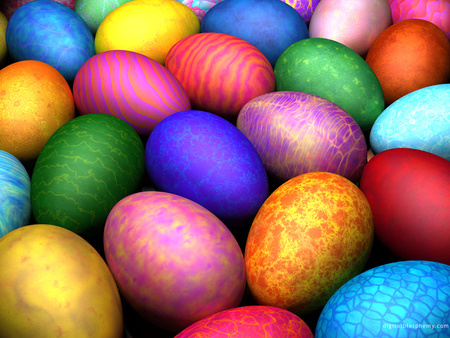 ☼ Easter Eggs ☼ - textures, holiday, rainbow, colours, dye, easter, paint, colourful, eggs, bright