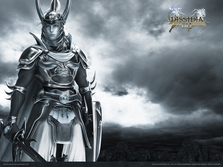 Warrior of Light - warrior of light, games, shield, video games, clouds, horns, helmet, grey, final fantasy, long hair, sword, ff1, male, final fantasy dissidia, sky, weapons, armor, final fantasy 1, dissidia, duodecim 012, armour