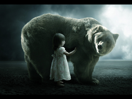 My friend - friendship, friend, friends, dark, understanding, big, animals, child, miracle, night, love, photoshop, bear, girl, cute girl, little girl, baby