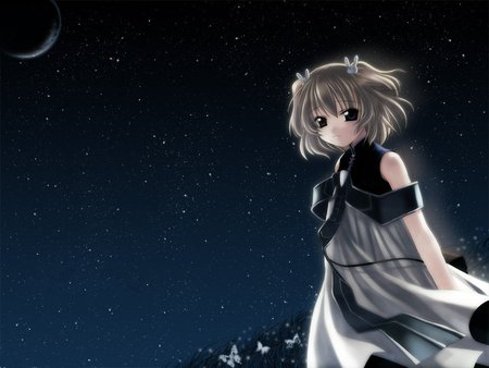 Naruse Chisato - stars, dress, girl, dark sky, angelic, dark moon