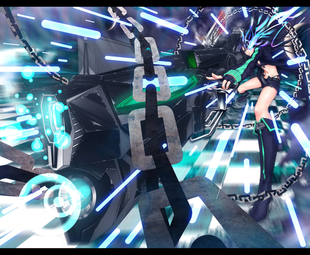 Shoot !! - game, chains, cannon, mato, kuroi, girl, anime, black rock shooter, weapon, brs, blue eyes