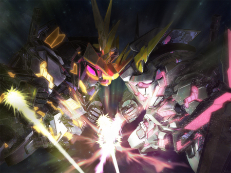 SD Gundam Unicorn vs Banshee - destroy mode, black, banshee, game, eyes, sd gundam, white, unicorn, anime, gundam unicorn, red