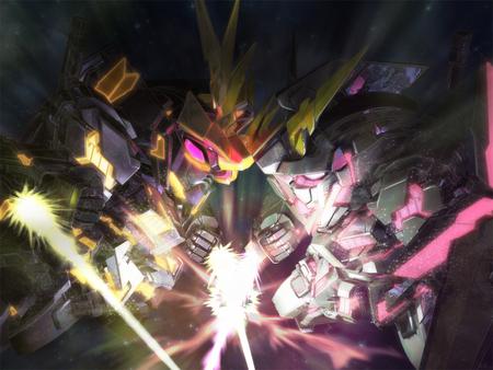 SD Gundam Unicorn vs Banshee - unicorn, sd gundam, white, game, anime, red, eyes, gundam unicorn, destroy mode, black, banshee