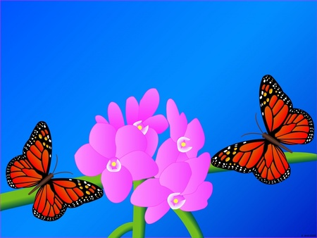 Colors of spring - butterflies, spring, 3d, others, flowers, color, nature, funny, animals, blue