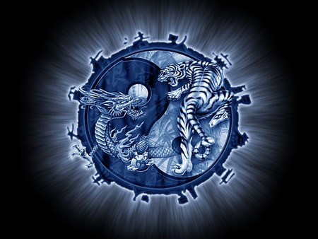 tiger and dragon - blue, 3d, tiger, abstract, dragon, fantasy