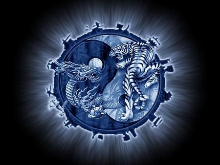 tiger and dragon - fantasy, blue, abstract, dragon, 3d, tiger